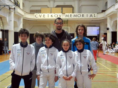 Ljubljana I fiorettisti Alessandro, Manuel, Tommaso, Anna, Marco e David col maestro Fulvi