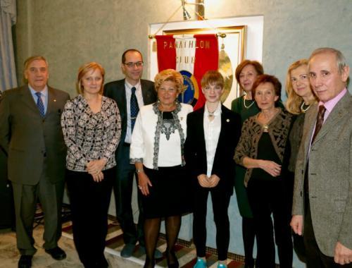 """Incontro con """"Bebe"""" alla serata Panathlon International Club di Pordenone. Col Presidente c'erano anche Silvia ed Eleonora"""